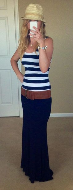 Nautical Style: Navy Maxi Skirt : Ralph Lauren Navy & White Striped Tank : Calvin Klein Fedora Perfect Summer Outfit