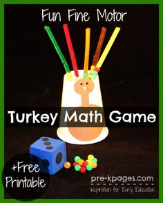 Fine Motor Turkey Math Game + Free Printable