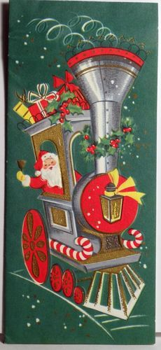 Vintage Christmas card of Santa delivering presents in a choo-choo train covered with holiday decorations.
