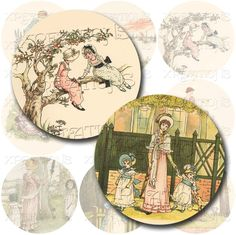 Vintage Children's Book Illustrations in 2x2 inches circles - Digital Collage Sheet. $3.50, via Etsy.