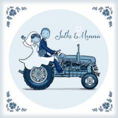 Trouwkaart tractor delftsblauw