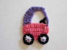 1pc 4 Crochet Girly COZY COUPE CAR Applique