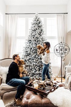 You probably already know that we got another puppy right before Christmas. Here's the full story on why we did and what life with two puppies is like. Christmas Couple, Christmas Deco, Winter Christmas, Christmas Home, Christmas Photo Cards, Christmas Pictures, Best Teddy Bear, New Year Photos, Xmas Photos