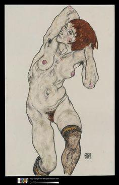 Nu féminin debout avec des bas noirs 1917 Schiele Egon (1890-1918)