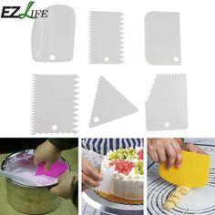 6pcs Set Plastic Baking Spatulas Cream Scraper Fondant Dough Knife Icing Jagged Edge Cake