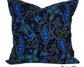 Throw Pillow Vintage Paisley Fabric, Black Turquoise Olive, Retro Cushion Cover