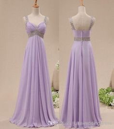 Real Image A-line Sleeveless Lavender Spaghetti Sweetheart Long Bridesmaid Dresses Beading Chiffon Prom Party Dresses Online with $96.29/Piece on Juliaweddingdress's Store   DHgate.com