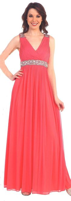 Evening Dresses Bridesmaid Dresses under $100<BR>1396<BR>Full length gown with V neckline on ruched bodice, beaded at shoulders and waist leading to a softly gathered flowing sheer over skirt.