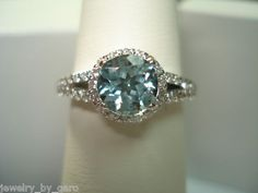 18K WG 1.31CT AQUAMARINE & DIAMONDS COCKTAIL RING HAND MADE | eBay
