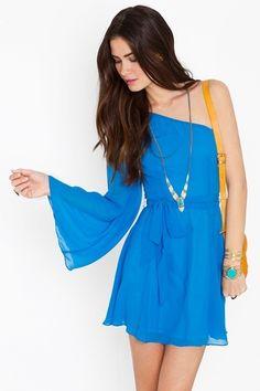 One Shoulder Blue Dress..perfect for Spring