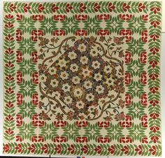 Hexagons, Chintz applique. Quiltmaker unknown.  Possibly made in Baltimore, Maryland, United States. Circa 1830-1850
