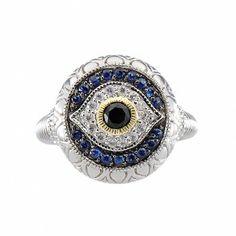 Judith Ripka La Petite Black Sapphire, Blue Sapphire & White Sapphire Evil Eye Ring