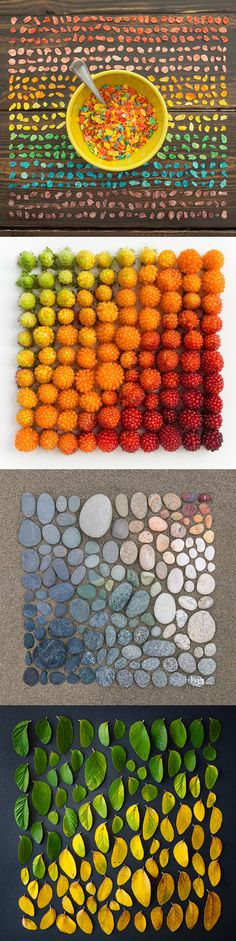 Arrangements of colorful food and objects by Emily Blincoe