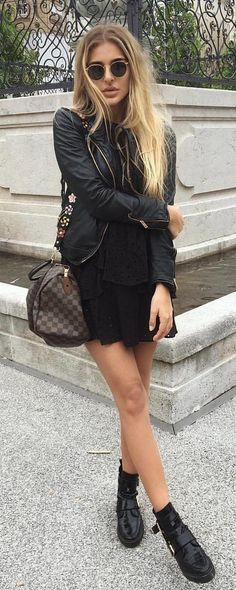 #summer #outfits Black Jacket + Black Dress