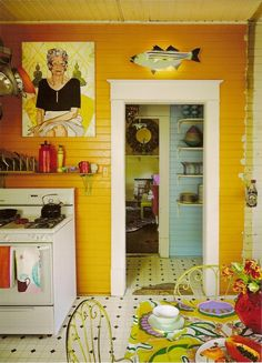 Eclectic yellow kitchen- colorful home