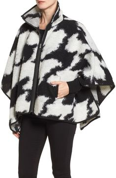 Main Image - French Connection Zip Front Houndstooth Wool Blend Poncho