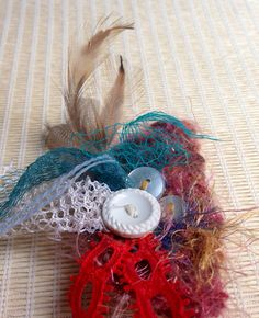 One of a kind Ribbon Hair Clip / Feathered Hair Piece : made with upcycled materials
