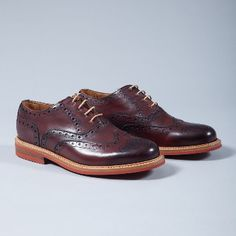 Berwick  Burgundy Lace-up Brogues: Contrast lace-up brogues. Berwick use premium leather from the German tannery of Jon Rendenbach Jr. where the cuts are tanned for a year in oak leaves. After this, the final colouring and patina effect is done by hand so each pair is totally unique.