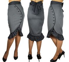 Super Cute Gray Pinup Girl Ruffled Polka Dot Pencil Wiggle Rockabilly Skirt