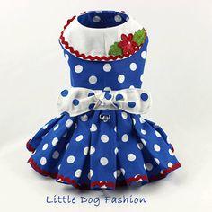 Dog dress Dog Harness dress handmade Polka dot dress for
