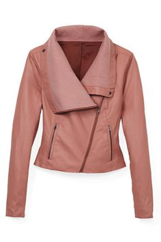 Swap your usual cardigan for a cozy faux-leather jacket with a ribbed cowlneck.