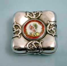 French Guilloche Enamel Silver Box Miniature Portrait Pill Snuff Compact