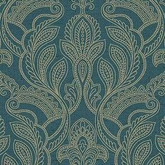 Norwall Wallcoverings Inc Vintage Damask x Paisley with Linen Wallpaper Color: Teal / Tan Opaque Linen Wallpaper, Brick Wallpaper Roll, Botanical Wallpaper, Embossed Wallpaper, Wallpaper Panels, Geometric Wallpaper, Bathroom Wallpaper, Paintable Wallpaper, Colorful Wallpaper