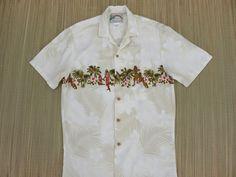 Hawaiian Shirt PARADISE FOUND Hula Girls Vintage Mens Tiki Surfer Aloha Shirt Luau Beach Party Wooden Buttons - S - Oahu Lew's Shirt Shack by OahuLewsShirtShack on Etsy