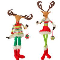 RAZ Posable Sitting Deer 31.5 inches tall Merry and Bright set of 2