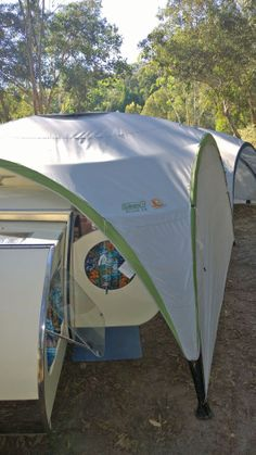 With sides on the gazebo we can add extra privacy and an extra room for our Gidget Retro Teardrop Camper.
