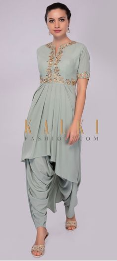 Buy Online from the link below. We ship worldwide (Free Shipping over US$100) Click Anywhere to Tag Sage-green-front-short-back-suit-with-dhoti-pant-only-on-Kalki