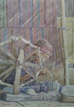 Donny Prawira n his bad watercolor arts ( old Sasak woman,  Sasak village,  Lombok Island, 53 X 73 cm)