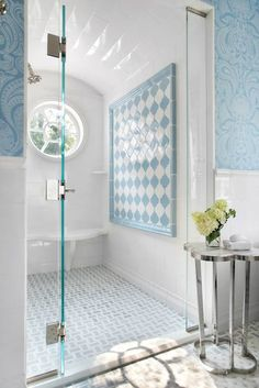Traci Rhoads Interiors - bathrooms - Regina Andrew Clover Table, flocked wallpaper, blue flocked wallpaper, white and blue bathroom, marble ...