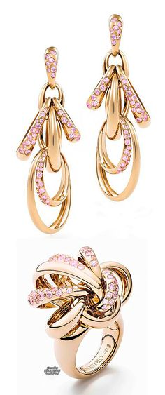 """De Grisogono, """"Catene"""" Earrings in Rose Gold with Pink Sapphire ~ collage by Purely Inspiration"""