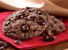 HERSHEY'S Kitchens Canada | Cookies Recipes - Best double chocolate chip cookie recipe ever! they stay moist and delicious