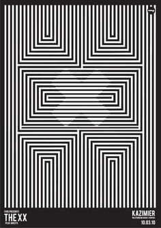 Graphic Prints The XX poster Op Art, Art Optical, Optical Illusions, Poster Design, Design Art, Mim Design, Band Posters, Cool Posters, Arte Linear