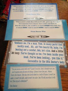4 Large Doctor Who Bookmarks by cheyschmidt on Etsy, $5.00