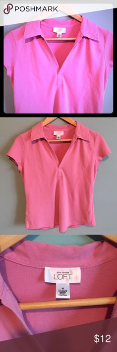 Anne Taylor Loft Soft Pink Shirt Lovely soft pink and comfortable modified polo. Nice condition. 97% cotton with lycra. Cap sleeve. LOFT Tops