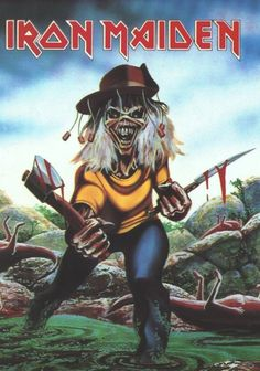 Heavy Metal Bands, Heavy Metal Art, Woodstock, Hard Rock, Iron Maiden Cover, Iron Maiden Mascot, Iron Maiden Posters, Eddie The Head, Fear Of The Dark