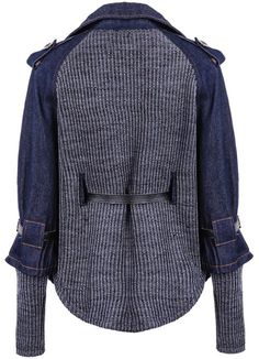 Blue Contrast Denim Lapel Knit Sweater