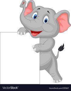 Funny elephant cartoon and blank sign vector image on VectorStock Cartoon Tiger, Cartoon Kids, Cartoon Art, Fun Worksheets For Kids, 2nd Grade Math Worksheets, Diy Room Decor For Girls, Funny Elephant, Arabic Alphabet For Kids, Blank Sign