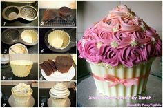 How to make giant cupcake Giant Cupcake Cakes, Large Cupcake, Mini Cakes, Cupcake Cookies, Cake Icing, Fondant Cakes, Fancy Cakes, Cute Cakes, Cupcake Gigant