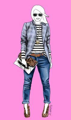 """Dieser wilde Muster- und Stil-Mix hat es in sich: Boyfriend-Jeans, robuster Ledergürtel und Streifen-Shirt sprechen """"Freizeit"""". Der Glencheck-Herrenblazer wäre auch fürs Büro einsetzbar. Und die Leo-Booties zusammen mit der Leo-Clutch sind Accessoires, die auch ein sexy Party-Outfit begleiten würden."""