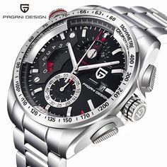 8863ec9b Luxury Brand PAGANI DESIGN Fashion Chronograph Sport Watches Men reloj  hombre Full Stainless Steel Quartz Watch