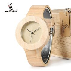 BOBO BIRD WH12 Pine Wooden Watches for Women Men Wood Dial Quartz Watch Genuine Leather Grain Straps Relojes Watch Brand Design