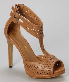 Love this Chase & Chloe Tan Monica Cutout Pump by Chase & Chloe on #zulily! #zulilyfinds