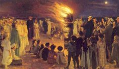 """Peder Severin Krøyer: Midsummer Eve's Bonfire at Skagen. """"The Skagen Painters were a group of Scandinavian artists who gathered in the area of Skagen, the northernmost part of Denmark, from the late 1870s until the turn of the century. Skagen was a summer destination whose scenery and quality of light attracted northern artists to paint en plein air following the French Impressionists—though members of the Skagen collective were also influenced by realist movements such as the Barbizon…"""