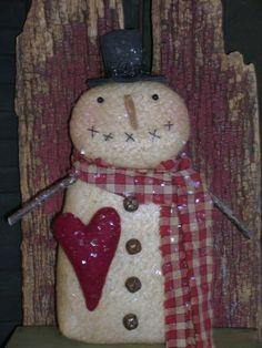"Primitive Valentine Jack 10"" Snowman Doll ~ Red Heart ~ Ro's Cluttered Attic #Primitive #RosClutteredAttic"
