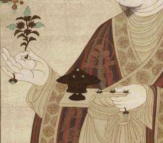 于闐國王供養像 莫高窟第98窟 東壁 五代 雙手小指戴上寶石指環、手持的香爐也有寶石裝飾。