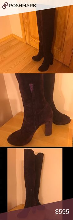 "PIERRE HARDY SUEDE OVER THE KNEE BOOT Description:  High heel over the knee boot  Suede upper  Inside zip closure  Covered heel  Leather insole  Measurements: Heel height 4½"", platform sole 1″, shaft height 22″, calf circumference 17″  Material:  Suede and Leather  Brand:  Pierre Hardy  Origin:  Italy PIERRE HARDY Shoes Over the Knee Boots"
